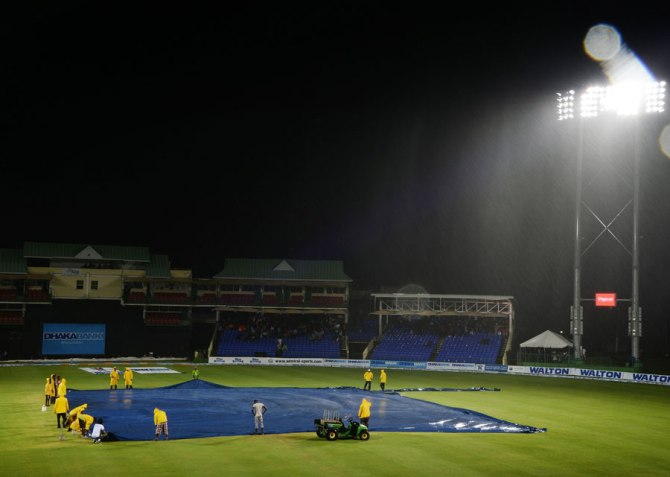 Play was abandoned less than five overs into the game