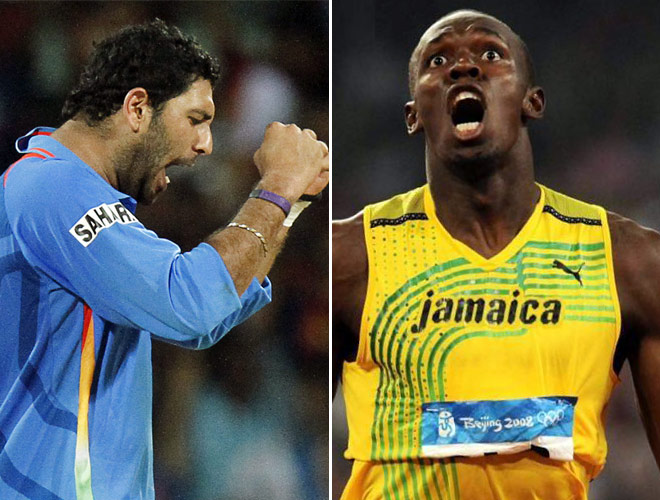 The event has been titled 'Bolt and Yuvi - Battle of the Legends'