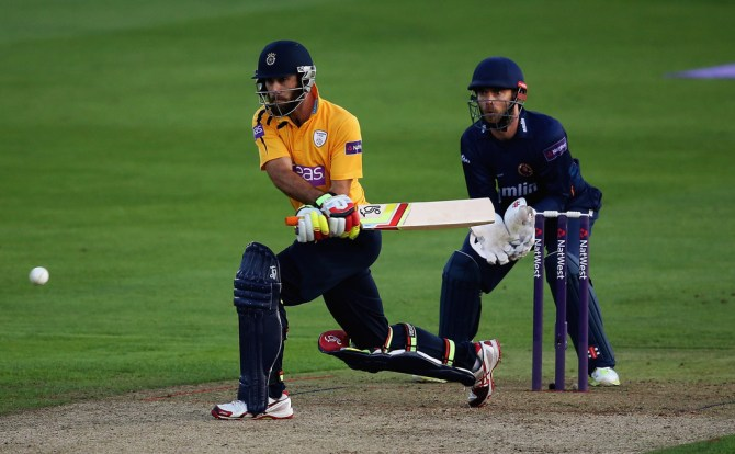 Maxwell tried out his new mystery shot during his stint with Hampshire