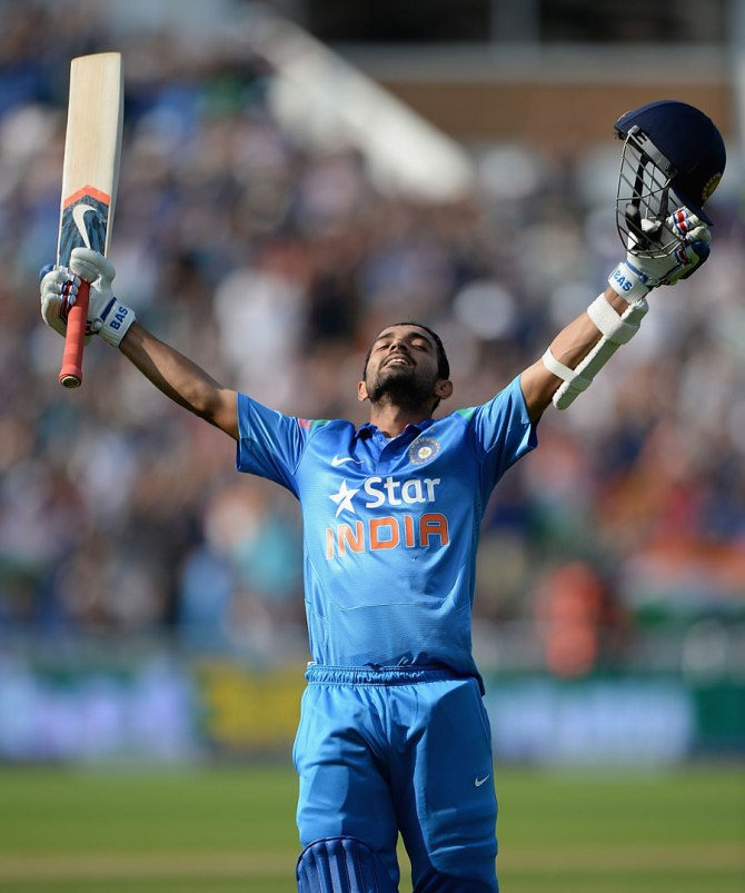 Rahane celebrates after bringing up his maiden ODI century