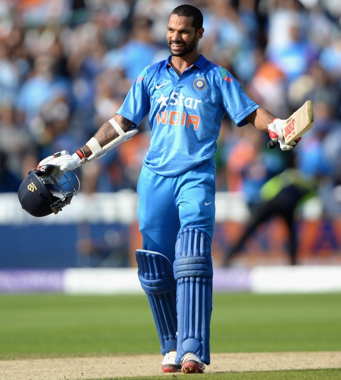 Dhawan hammered 11 boundaries and four sixes during his unbeaten innings of 97