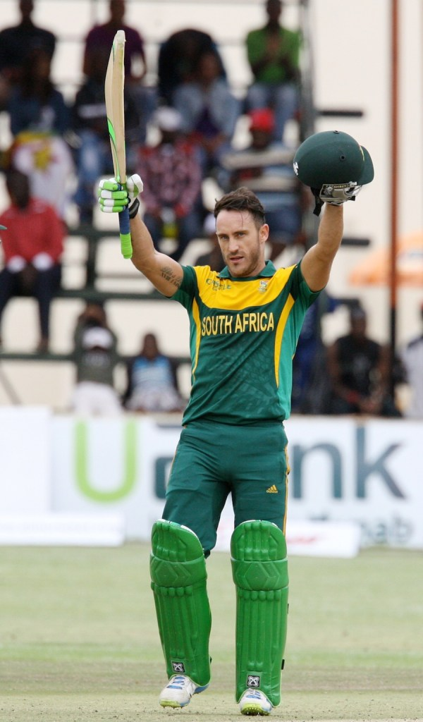 Du Plessis celebrates after bringing up his third ODI century