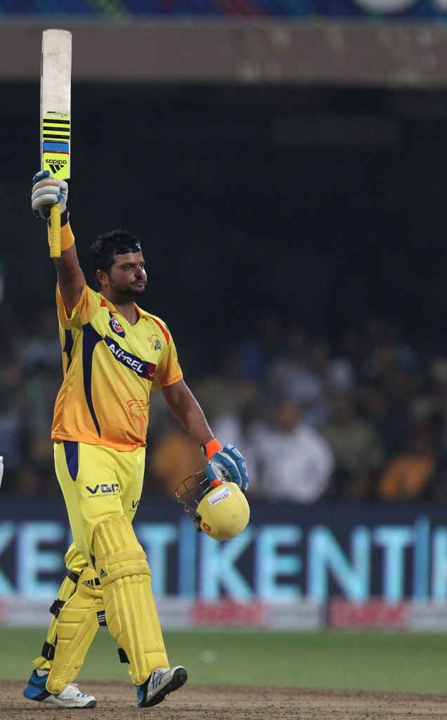 Raina smashed six boundaries and eight sixes during his game-winning knock of 109