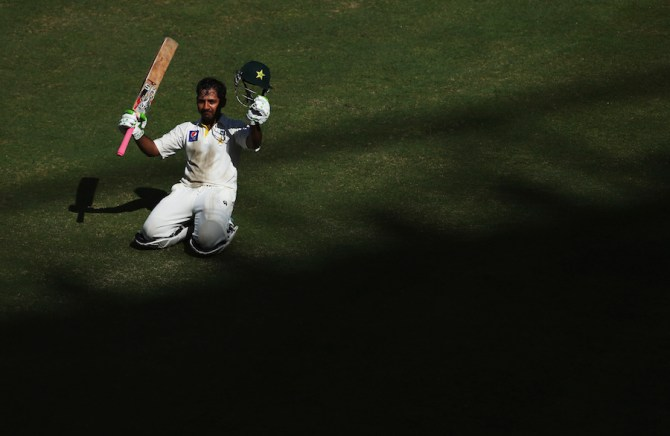 Ahmed celebrates after scoring his second Test century