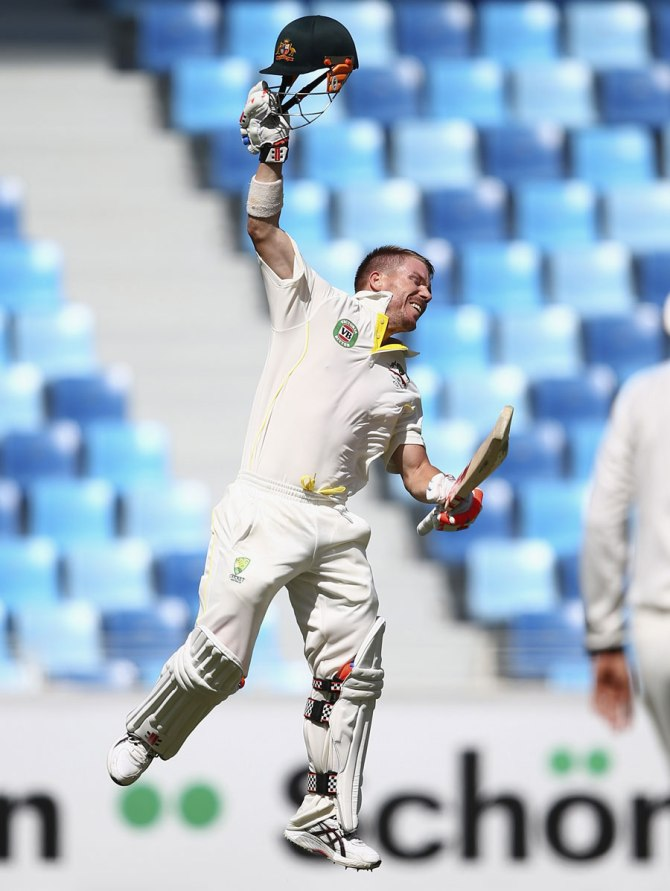 Warner is ecstatic after bringing up his ninth Test century