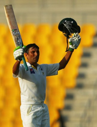 Khan became only the second cricketer to score three consecutive Test centuries against Australia