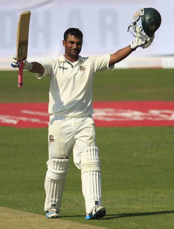 Iqbal celebrates after scoring his sixth Test century