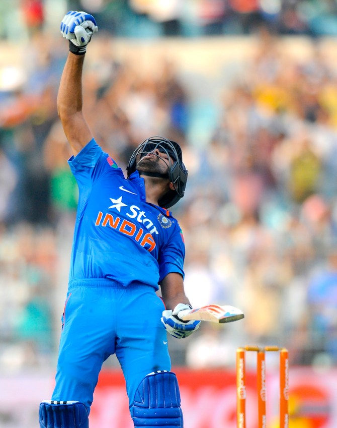 Sharma is overjoyed after making the highest score in ODI history