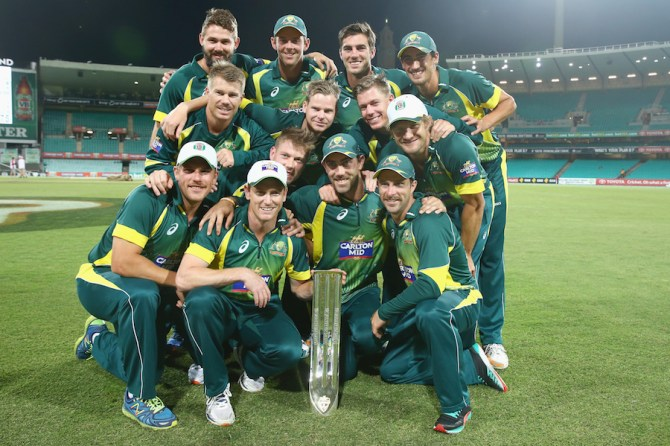 Australia celebrate after crushing South Africa 4-1 and regaining the top spot on the ODI rankings