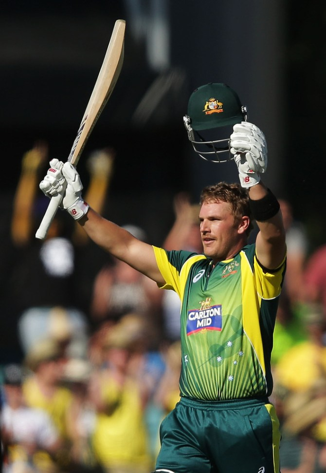 Finch celebrates after scoring his fifth ODI century