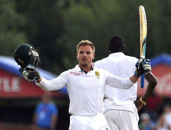 Van Zyl celebrates after scoring his maiden Test century on debut