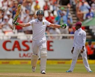 De Villiers celebrates after scoring his 21st Test century