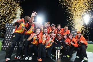 The Scorchers celebrate after winning the BBL for the second consecutive year