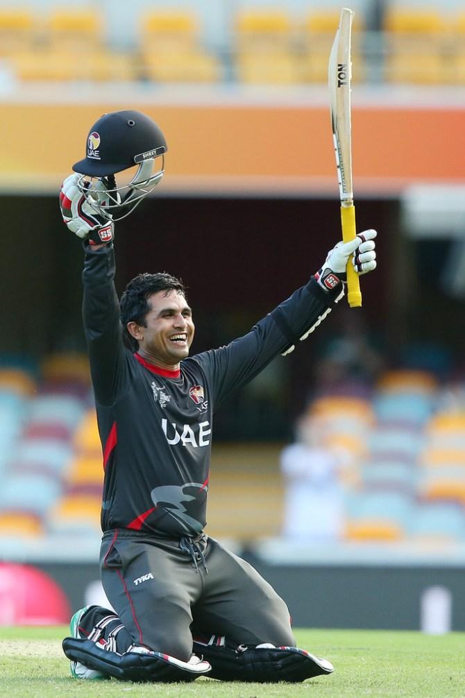 Anwar celebrates after scoring his maiden ODI century