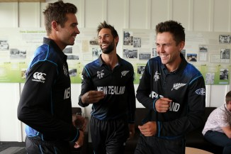 Southee (far left) and Boult (far right) have combined to take 16 wickets in the three World Cup matches New Zealand have played thus far