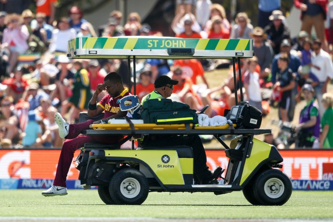 Bravo was forced to retire on 49 after injuring his hamstring against Pakistan during the World Cup