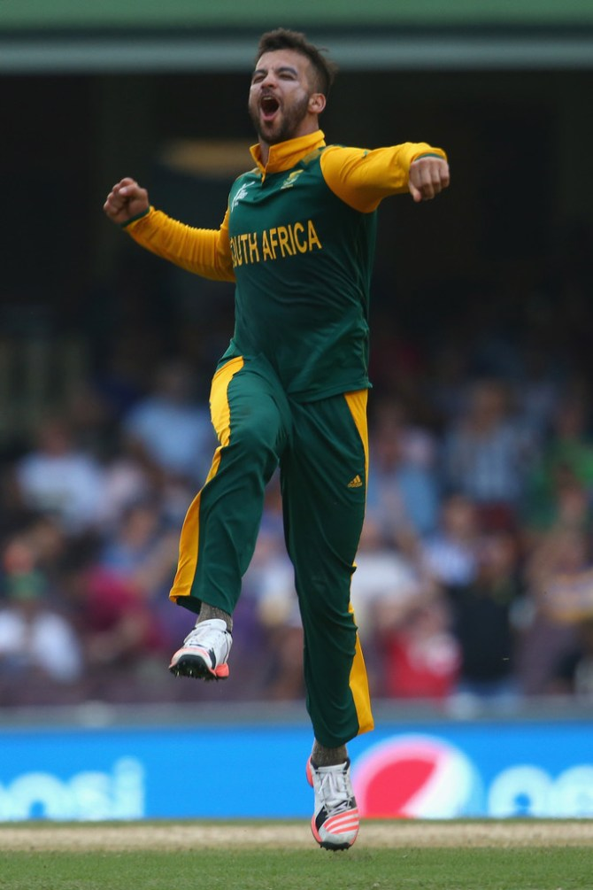 Duminy is ecstatic after becoming the first South African to take a World Cup hat-trick