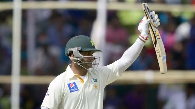 Hafeez celebrates after scoring his eighth Test century