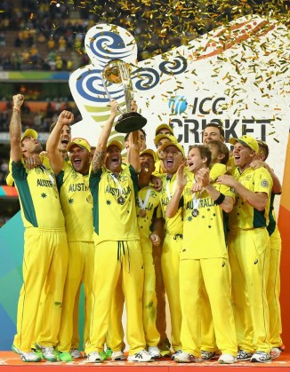 Australia celebrate after winning the World Cup for the fifth time