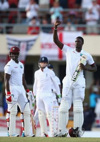 Holder celebrates after scoring his maiden Test century