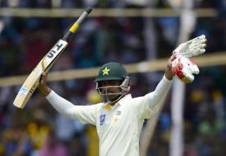 Hafeez celebrates after scoring his maiden double century