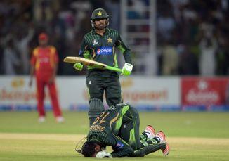 Malik celebrates after scoring his eighth ODI century
