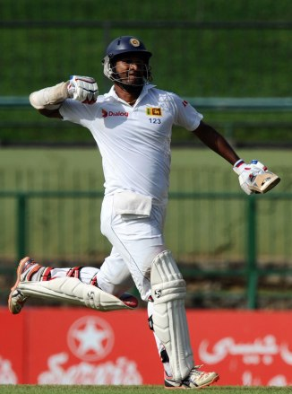 Karunaratne celebrates after scoring his second Test century