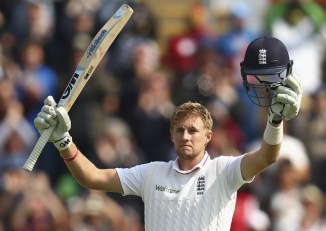 Root celebrates after scoring his seventh Test century