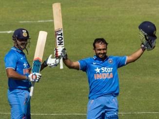 Jadhav celebrates after scoring his maiden ODI century