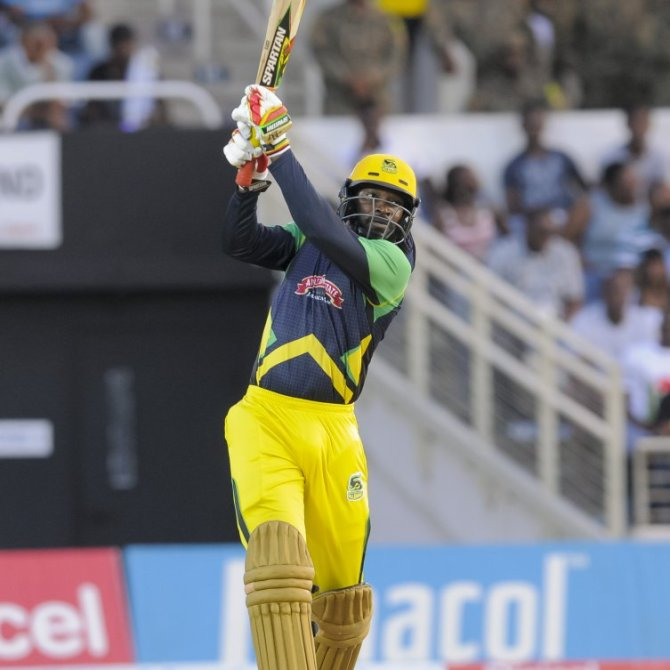 Gayle hammered six boundaries and nine sixes during his knock of 105