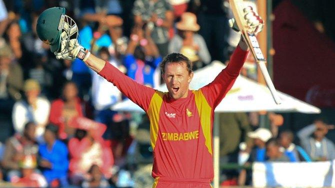 Ervine celebrates after scoring his maiden ODI century
