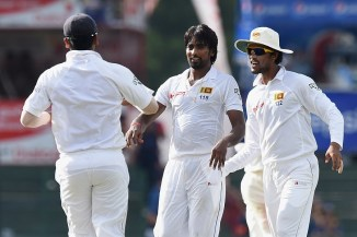 Sri Lanka celebrate after India were reduced to 7/3 in the sixth over