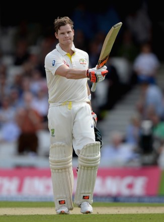 Smith celebrates after scoring his 11th Test century