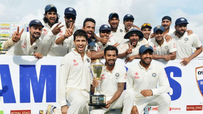 India celebrate their historic 2-1 win