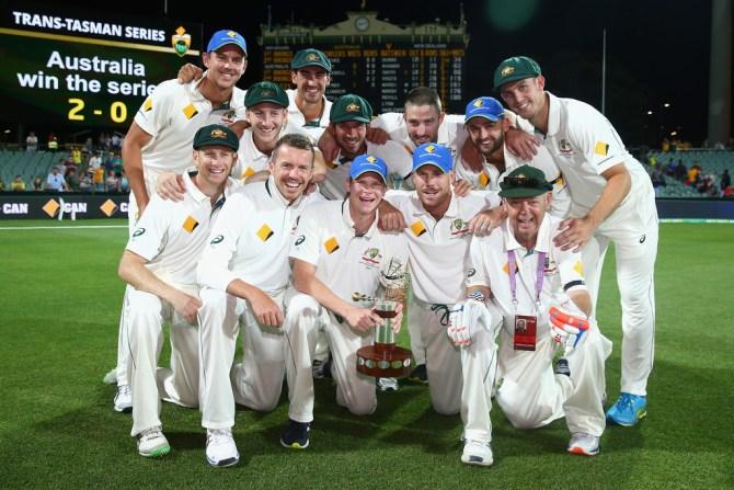 Australia celebrate after beating New Zealand 2-0