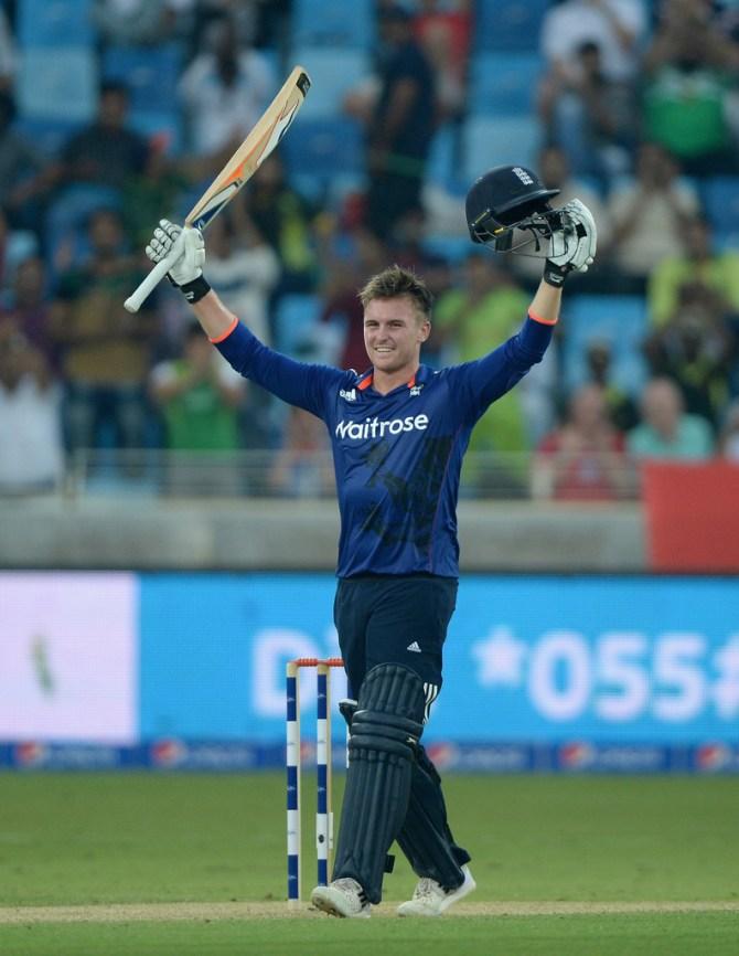 Roy celebrates after scoring his maiden ODI century