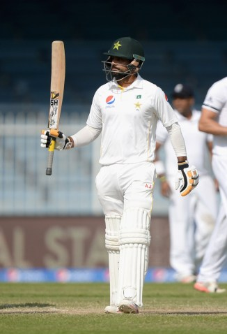 Hafeez celebrates after scoring his ninth Test century