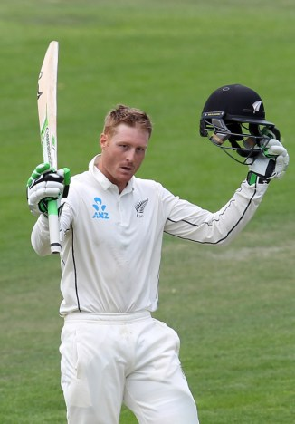 Guptill celebrates after scoring his third Test century