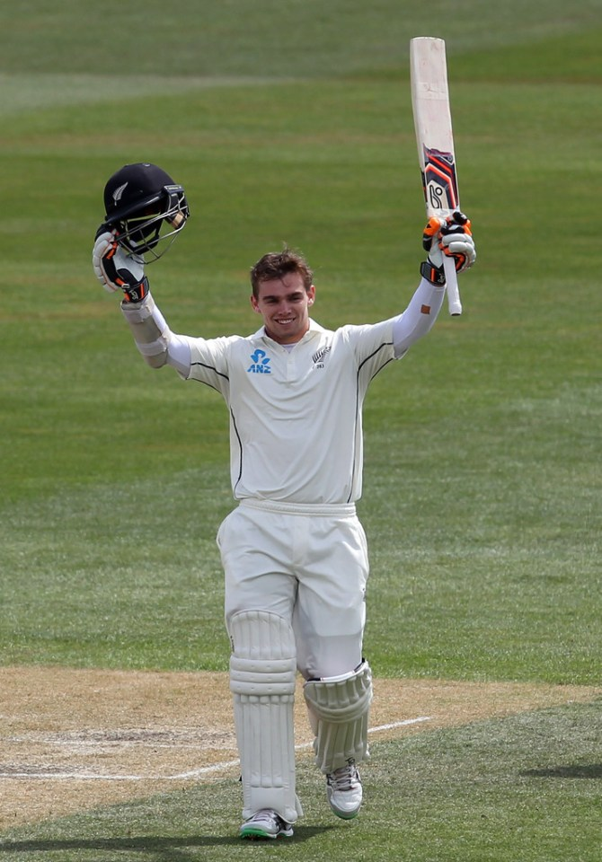 Latham celebrates after scoring his third Test century