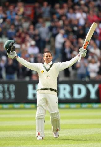 Khawaja celebrates after scoring his third Test century