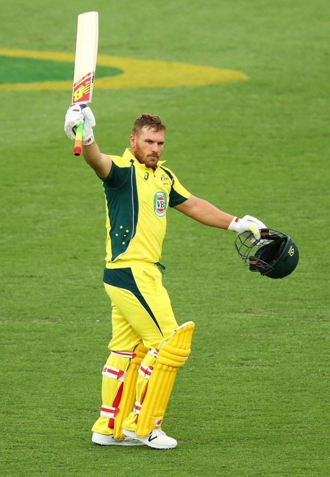 Finch celebrates after scoring his seventh ODI century
