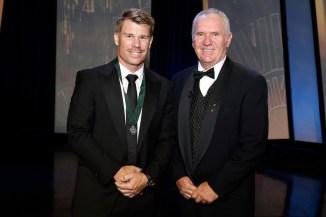 Warner (left) won the Allan Border Medal