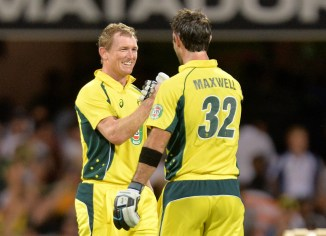 Bailey (left) and Maxwell celebrate after leading Australia to victory