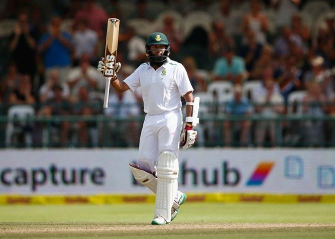 Amla celebrates after scoring his 24th Test century