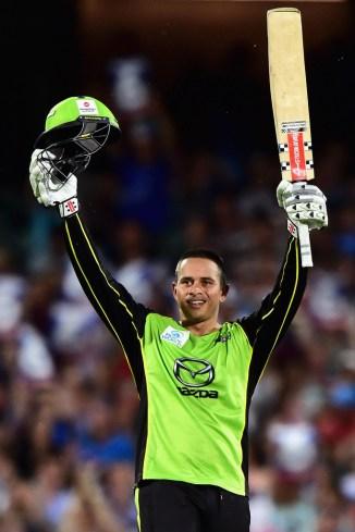 Khawaja celebrates after scoring his century