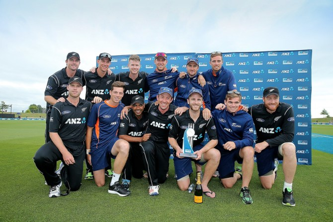 New Zealand pose with the trophy after whitewashing Bangladesh 3-0