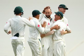 Lyon removed Sharjeel to leave Australia needing nine wickets to win on the final day