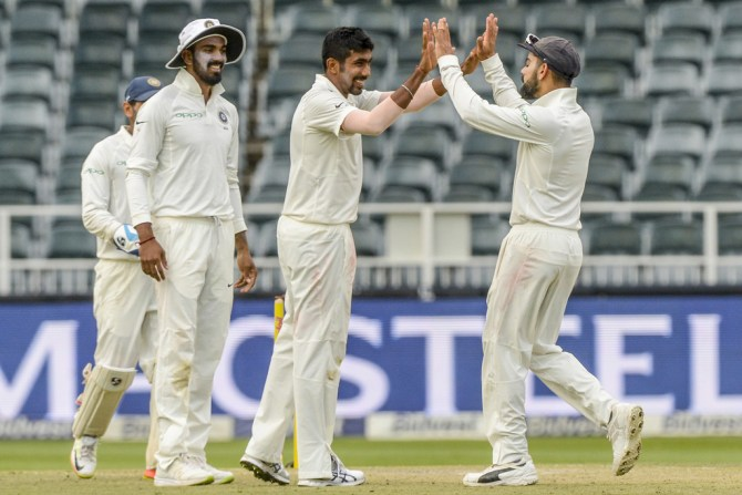 Jasprit Bumrah five wickets South Africa India 3rd Test 2nd Day cricket
