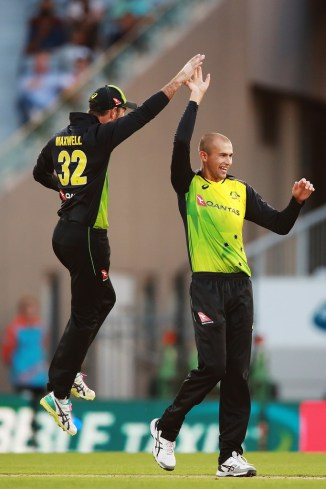 Ashton Agar three wickets New Zealand Australia T20 tri-series final Auckland cricket