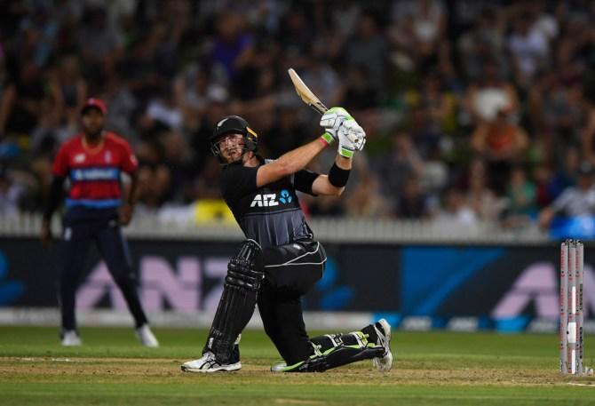Martin Guptill 62 New Zealand England T20 tri-series Hamilton cricket